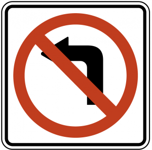 no girar izquierda